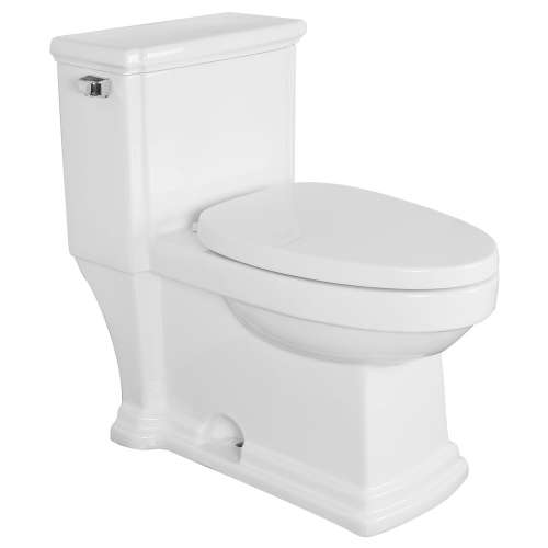 Samuel Mueller Hillman Elongated 1-Piece Vitreous China, Water-Efficient 1.28 GPF All-in-One Toilet Kit with Slow-Close Seat - SMBTS-2400-M