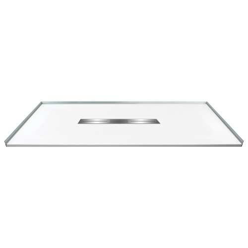 60-in x 36-in Zero Threshold Shower Base with Center Drain, in White