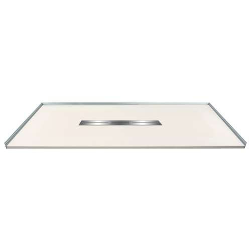 60-in x 36-in Zero Threshold Shower Base with Center Drain, in Cameo