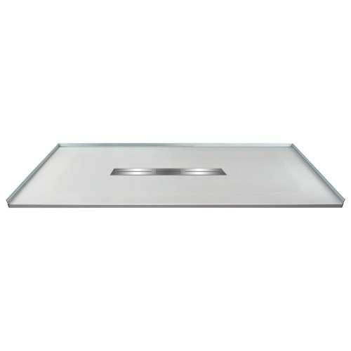 60-in x 36-in Zero Threshold Shower Base with Center Drain, in Grey