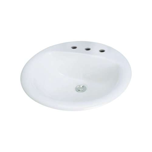Samuel Mueller Parma Vitreous China 19-in Round Drop-in Lavatory with 8-in CC Faucet Holes - SML-1568