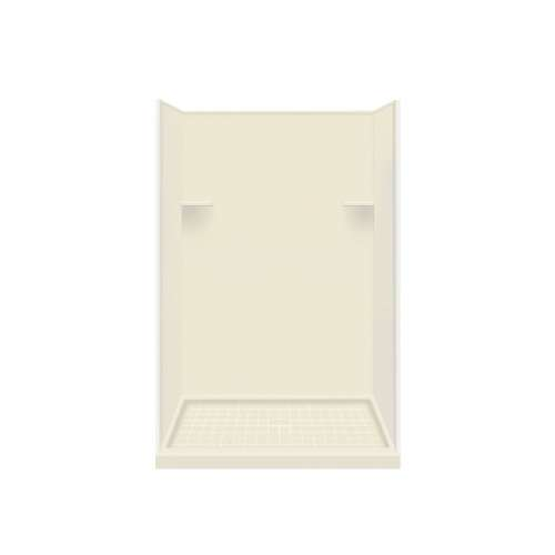 Samuel Mueller Luxura 34-in x 48-in x 75-in Solid Surface Alcove Shower Kit in Biscuit