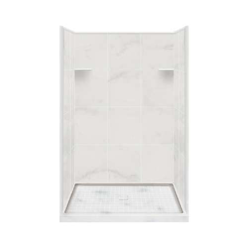 Samuel Mueller Luxura 34-in x 48-in x 75-in Solid Surface Alcove Shower Kit in White Carrara