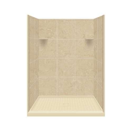 Samuel Mueller Luxura 34-in x 48-in x 75-in Solid Surface Alcove Shower Kit in Almond Sky