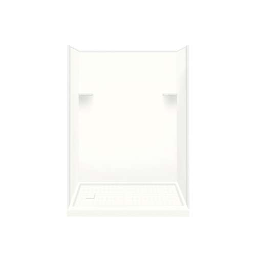 Samuel Mueller Luxura 30-in x 60-in x 75-in Solid Surface Left-Hand Alcove Shower Kit in White
