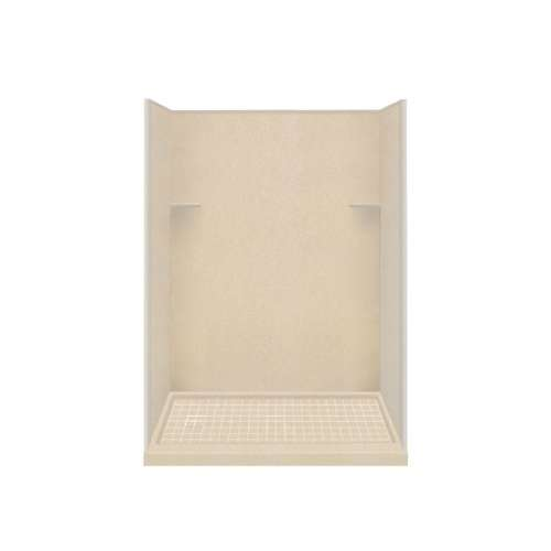 Samuel Mueller Luxura 30-in x 60-in x 75-in Solid Surface Left-Hand Alcove Shower Kit in Matrix Khaki