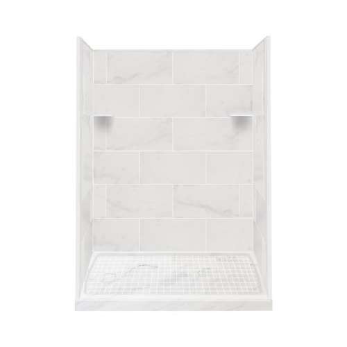 Samuel Mueller Luxura 30-in x 60-in x 75-in Solid Surface Left-Hand Alcove Shower Kit in White Carrara
