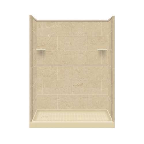 Samuel Mueller Luxura 30-in x 60-in x 75-in Solid Surface Left-Hand Alcove Shower Kit in Almond Sky