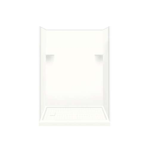 Samuel Mueller Luxura 30-in x 60-in x 75-in Solid Surface Right-Hand Alcove Shower Kit in White