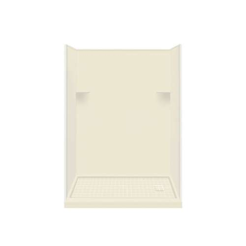Samuel Mueller Luxura 30-in x 60-in x 75-in Solid Surface Right-Hand Alcove Shower Kit in Biscuit