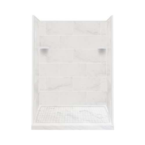 Samuel Mueller Luxura 30-in x 60-in x 75-in Solid Surface Right-Hand Alcove Shower Kit in White Carrara