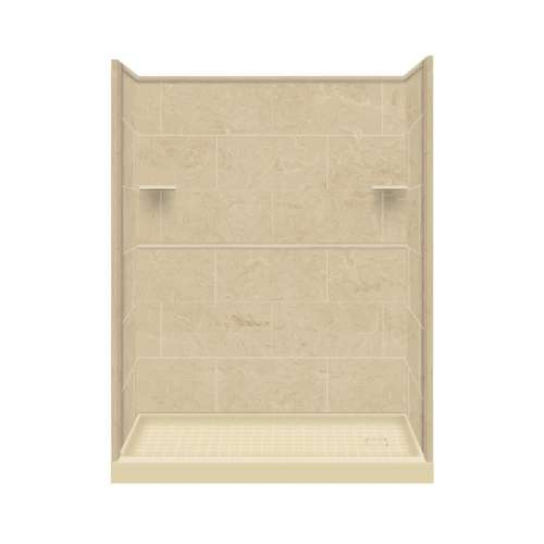 Samuel Mueller Luxura 30-in x 60-in x 75-in Solid Surface Right-Hand Alcove Shower Kit in Almond Sky