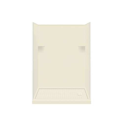 Samuel Mueller Luxura 32-in x 60-in x 75-in Solid Surface Right-Hand Alcove Shower Kit in Biscuit
