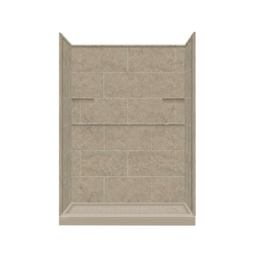 Samuel Mueller Luxura 32-in x 60-in x 75-in Solid Surface Right-Hand Alcove Shower Kit in Sand Mountain
