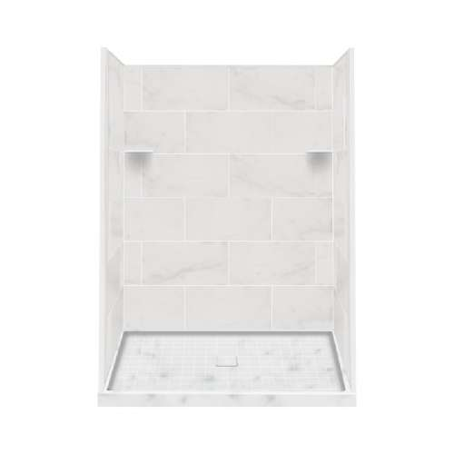 Samuel Mueller Luxura 36-in x 60-in x 75-in Solid Surface Alcove Shower Kit in White Carrara