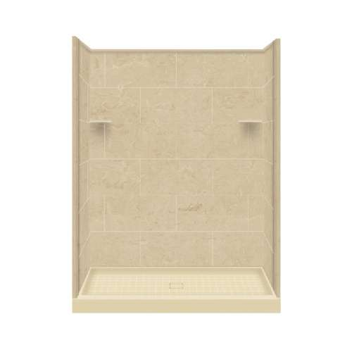 Samuel Mueller Luxura 36-in x 60-in x 75-in Solid Surface Alcove Shower Kit in Almond Sky