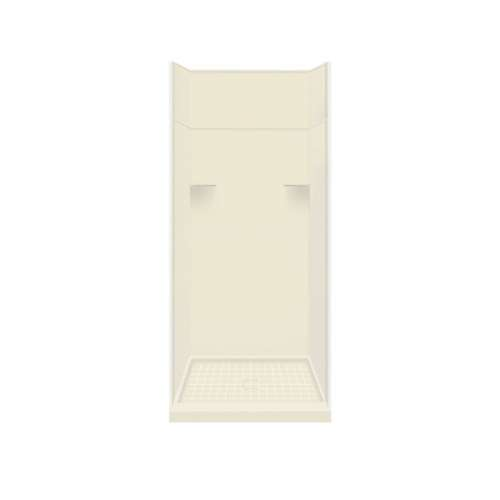Samuel Mueller Luxura 36-in x 36-in x 99-in Solid Surface Alcove Shower Kit with Extension in Biscuit