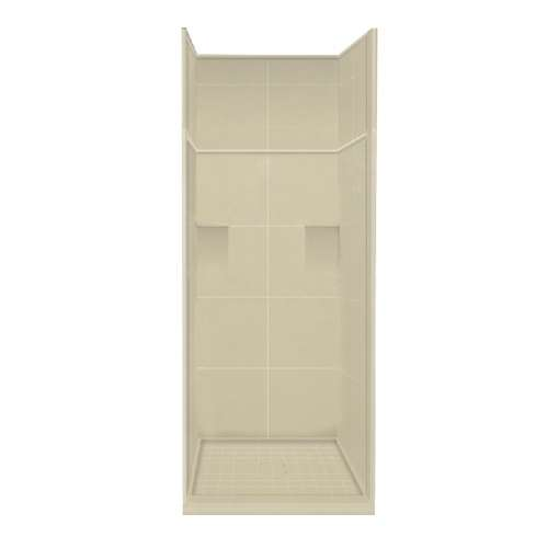 Samuel Mueller Luxura 36-in x 36-in x 99-in Solid Surface Alcove Shower Kit with Extension in Almond Sky