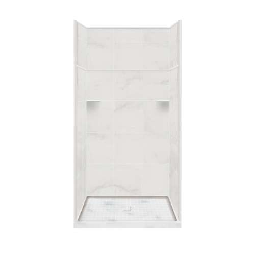 Samuel Mueller Luxura Solid Surface 48-in x 96-in Alcove Shower Kit with Extension
