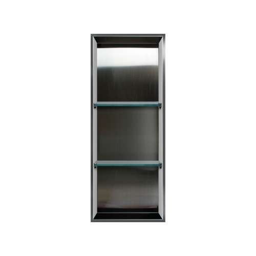 Samuel Mueller Luxura 14-in. Recessed Stainless Steel/Solid Surface Shower Storage Pod - In Multiple Colors - SMLSTV13414-SS-M2