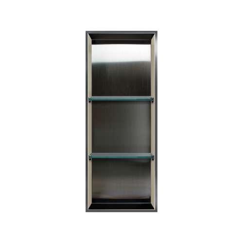 Samuel Mueller Luxura 14-in. Recessed Stainless Steel/Solid Surface Shower Storage Pod