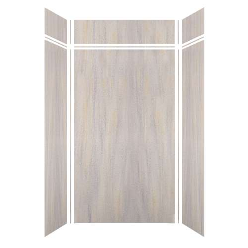 Luxura 48-in x 36-in x 84/12-in Glue to Wall 3-Piece Transition Shower Wall Kit, Creme Brulee