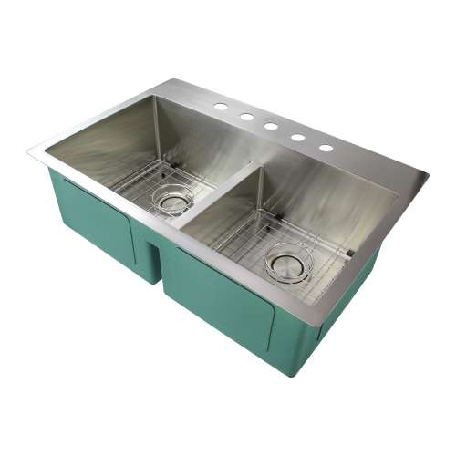 Samuel Mueller Monterey 33in x 22in 16 Gauge Dual Mount Double Bowl Kitchen Sink with Low Divide with 5 Holes