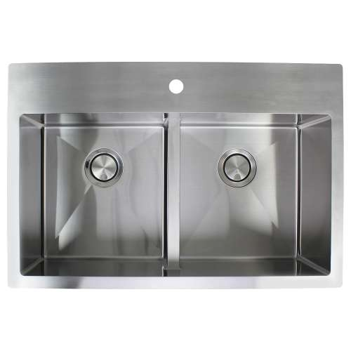 Samuel Mueller Monterey Stainless Steel 33-in Dual Mount Kitchen Sink - Multiple Hole Configurations Available - SMMTDE332210-M