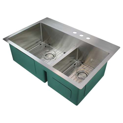 Samuel Mueller Monterey 33in x 22in 16 Gauge Dual Mount Double Bowl Kitchen Sink with Low Divide with 3 Holes