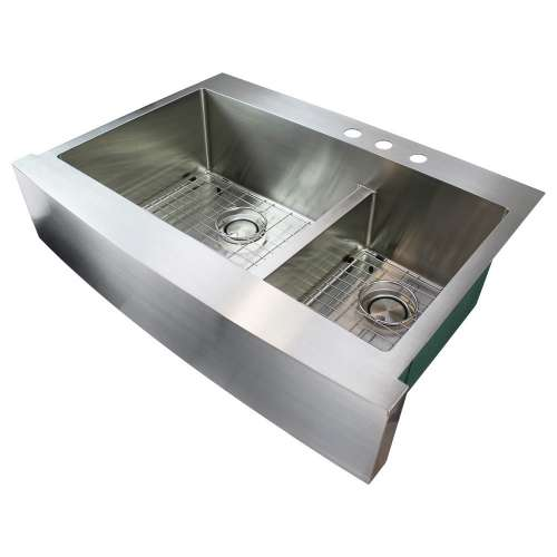 Samuel Mueller Monterey 36in x 25in 16 Gauge Dual Mount Double Bowl Kitchen Sink with Low Divide with 3 Holes