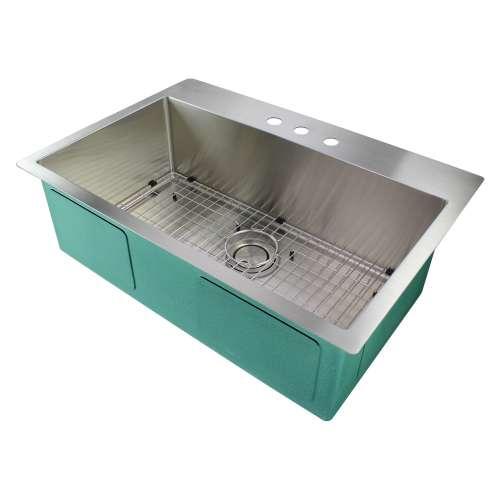 Samuel Mueller Monterey 32in x 22in 16 Gauge Super Dual Mount Single Bowl Kitchen Sink with 3 Holes