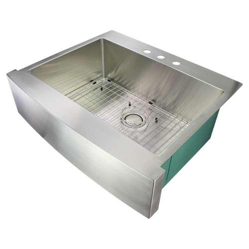 Samuel Mueller Monterey 30in x 25in 16 Gauge Super Dual Mount Single Bowl Kitchen Sink with 3 Holes