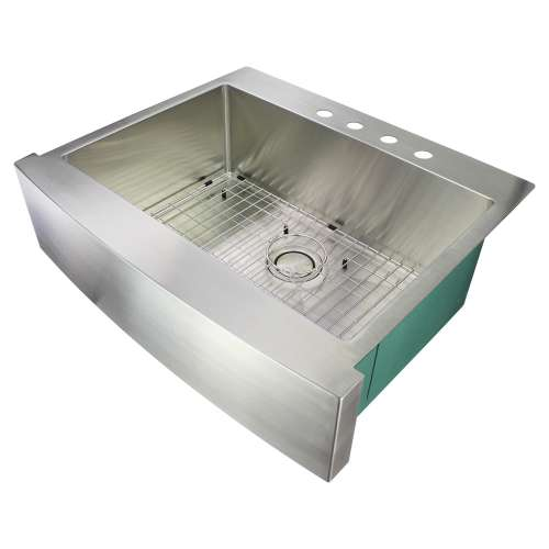 Samuel Mueller Monterey 30in x 25in 16 Gauge Super Dual Mount Single Bowl Kitchen Sink with 4 Holes