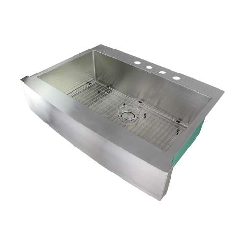 Samuel Mueller Monterey 36in x 25in 16 Gauge Super Dual Mount Single Bowl Kitchen Sink with 4 Holes