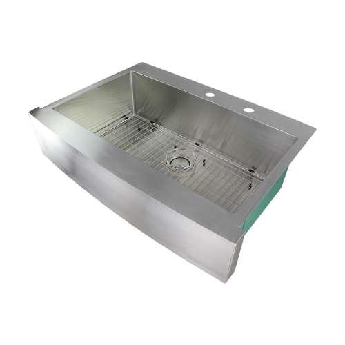Samuel Mueller Monterey 36in x 25in 16 Gauge Super Dual Mount Single Bowl Kitchen Sink withh FR2 Holes