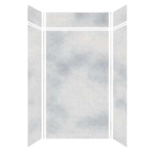 Monterey 48-in x 36-in x 84/12-in Glue to Wall 3-Piece Transition Shower Wall Kit, Moon Stone/Tile