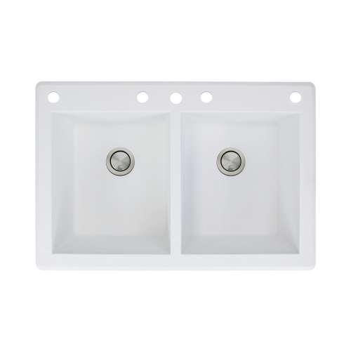 Samuel Mueller Renton 33in x 22in silQ Granite Drop-in Double Bowl Kitchen Sink with 5 CABDE Faucet Holes, In White