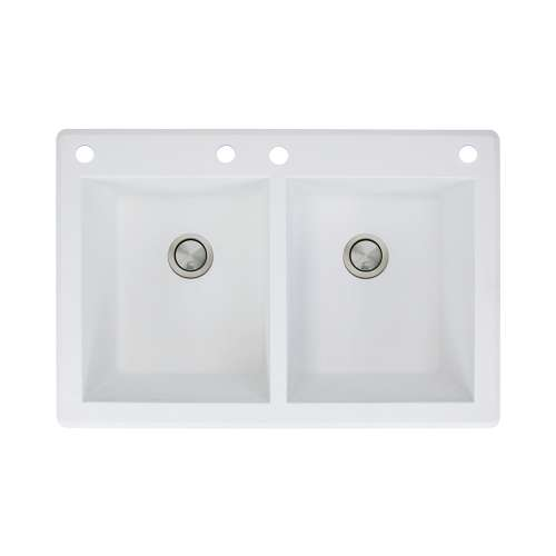 Samuel Mueller Renton 33in x 22in silQ Granite Drop-in Double Bowl Kitchen Sink with 4 CABE Faucet Holes, In White