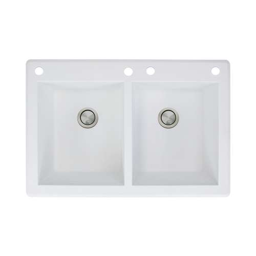 Samuel Mueller Renton 33in x 22in silQ Granite Drop-in Double Bowl Kitchen Sink with 4 CADE Faucet Holes, In White