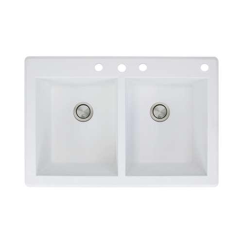 Samuel Mueller Renton 33in x 22in silQ Granite Drop-in Double Bowl Kitchen Sink with 4 CBDE Faucet Holes, In White