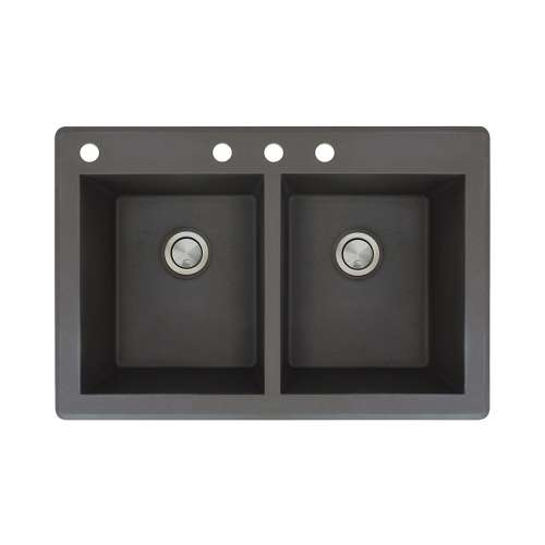 Samuel Mueller Renton 33in x 22in silQ Granite Drop-in Double Bowl Kitchen Sink with 4 CABD Faucet Holes, In Black