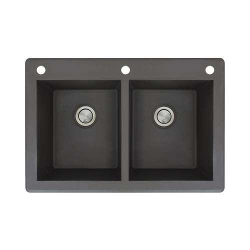 Samuel Mueller Renton 33in x 22in silQ Granite Drop-in Double Bowl Kitchen Sink with 3 CAE Faucet Holes, In Black