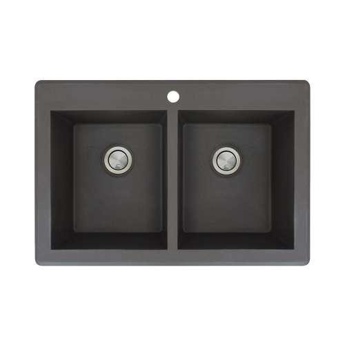 Samuel Mueller Renton Granite 33-in Drop-In Kitchen Sink Kit with Grids, Strainers and Drain Installation Kit in Black