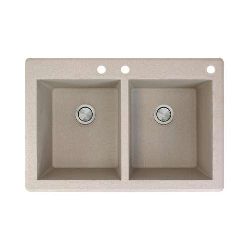 Samuel Mueller Renton 33in x 22in silQ Granite Drop-in Double Bowl Kitchen Sink with 3 CBE Faucet Holes, In Cafe Latte