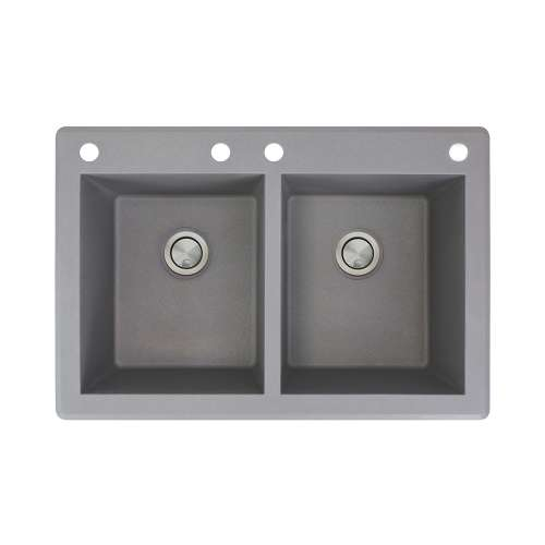 Samuel Mueller Renton 33in x 22in silQ Granite Drop-in Double Bowl Kitchen Sink with 4 CABE Faucet Holes, In Grey