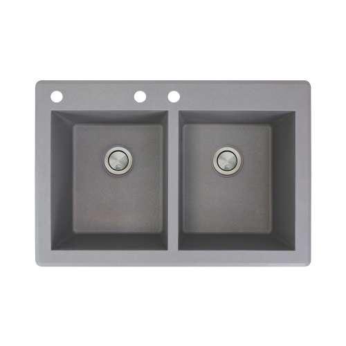 Samuel Mueller Renton 33in x 22in silQ Granite Drop-in Double Bowl Kitchen Sink with 3 CAB Faucet Holes, In Grey