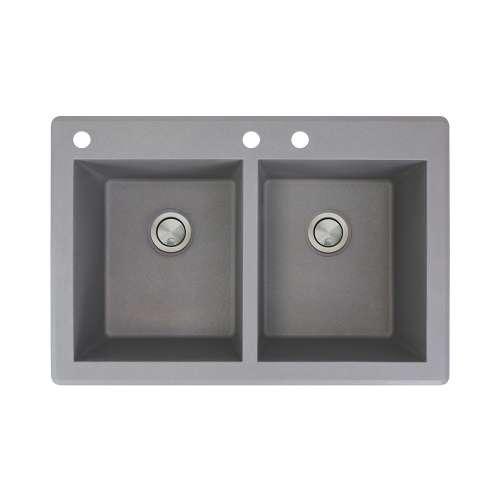 Samuel Mueller Renton 33in x 22in silQ Granite Drop-in Double Bowl Kitchen Sink with 3 CAD Faucet Holes, In Grey