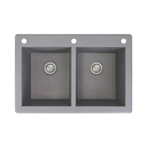 Samuel Mueller Renton 33in x 22in silQ Granite Drop-in Double Bowl Kitchen Sink with 3 CAE Faucet Holes, In Grey