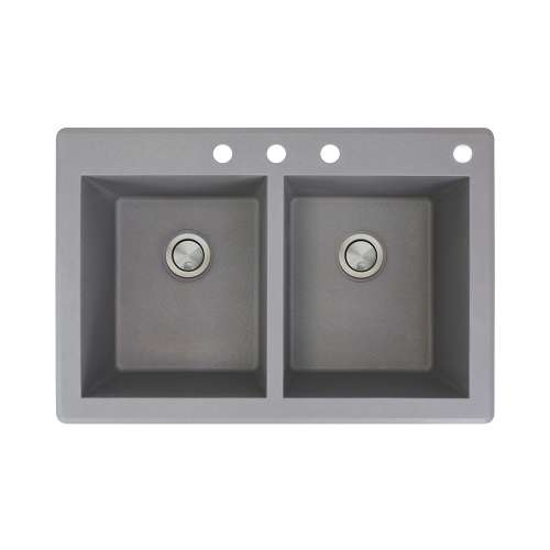 Samuel Mueller Renton 33in x 22in silQ Granite Drop-in Double Bowl Kitchen Sink with 4 CBDE Faucet Holes, In Grey