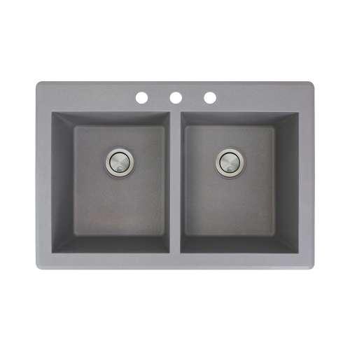 Samuel Mueller Renton 33in x 22in silQ Granite Drop-in Double Bowl Kitchen Sink with 3 CBD Faucet Holes, In Grey